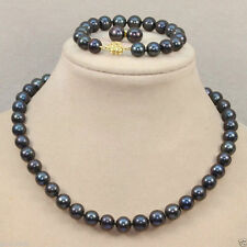 Fashion Women's 8mm Natural Black shell Pearl Necklace Bracelet Earrings AAA