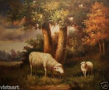 "High Quality Oil Painting on Stretched Canvas 20x24"" Lovely Pair of White Sheep"