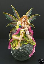 Pink Green Fairy Holding Girl Crystal Glass Ball Globe Paperweight with LED Base