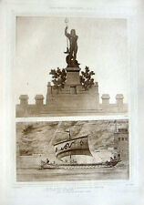 12 ~ ACROPOLIS OF SUNIUM NEPTUNE STATUE ~ Old 1905 Architecture Detail Art Print