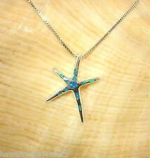 "14mm Hawaiian Silver Rhodium Pe`a Starfish Man-made Opal Pendant 17"" Necklace"