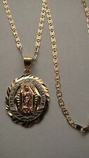 14K Solid Gold Virgen de Guadalupe pendant Charm with Valentino 14K Chain