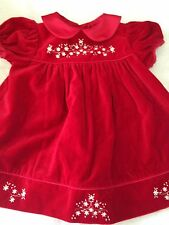 Bonnie Baby 6-9 months baby dress red floral Christmas holiday dressy