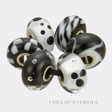 Authentic Trollbeads Silver New Black White Kit - 6 Beads Trollbead  63032