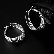 Women Sterling Stainless Steel Silver Plated Hoop Round Earring Best Jewelry DG
