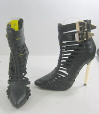 """Blacks 5""""high Stiletto  gold heel pointy toe  ankle straps sexy shoes Size  6.5"""