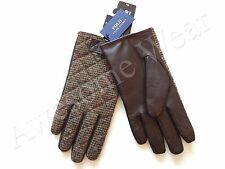 New Ralph Lauren Polo Tweed Wool Brown Leather Touchscreen Friendly Gloves sz M