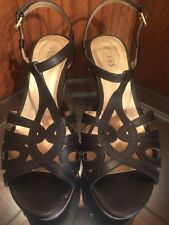 Guess Women's Black High Heels Sandals Size 10 M Cork Wedge Gently Used