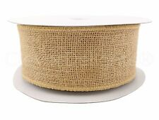 "2.5"" Natural Burlap Ribbon - 25 Yards - Wired / Finished Edge - Super-Fine Weave"