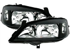 BLACK clear finish headlight front light set for Opel Astra G 98-05