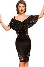 Abito cono aperto nudo ricamato aderente Cerimonia Party Cocktail Lace Dress M