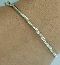 14k Yellow Gold Eternity Bangle man made Diamond size L 2mm
