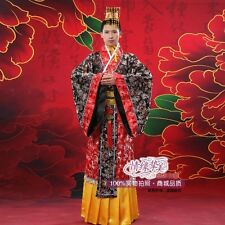 New Black Chinese Ancient Man Clothing Emperor Prince Show Cosplay Robe Costume