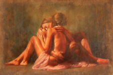 "Handcraft Art Oil Painting On Canvas ""24X36"" romantic young lovers together"