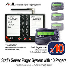 10 Server Pager Restaurant Paging Kit by Apollo