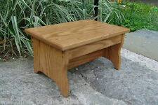 Solid Oak Handcrafted Heavy Duty Step Stool, Wooden Bedside, Foot, Golden Oak