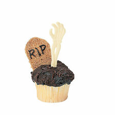 12 SKELETON Hand HALLOWEEN Party PICKS Appetizers Hors'deurves Cupcakdes Skull