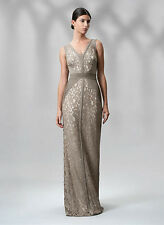 NWOT taupe & ivory TADASHI SHOJI Lace & Jersey Gown size 14