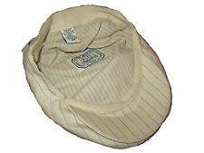 Rugby Ralph Lauren Polo Ivory White Wool Linen Pinstripe Driving Cap Hat