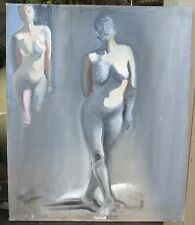 Vintage Nude Modernist Oil Painting Wall Hanging Mid Century Modern Retro Art