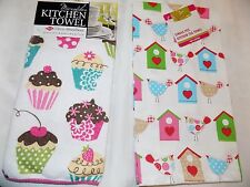 2 PIECE SET kitchen/hand/tea towel cupcakes and birdhouse prints NEW with tags
