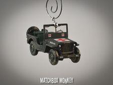 USA Medic Jeep Willys WWII Omaha Beach Army USMC Christmas Ornament 1/64 MASH