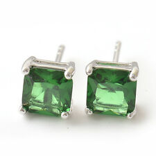Silver Gold Filled Square Emerald lucky Womens cute small Stud Earrings Earings