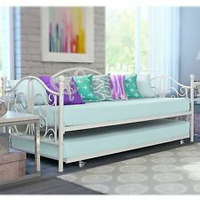 Off-White Iron Metal Day Bed Twin Size Frame w Trundle Bunk Antique Furniture
