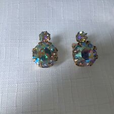 WEISS DESIGNED AURORA BOREALIS CLIP BACK EARRINGS WITH LARGE STONES