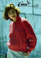 Emu ladies knitting pattern leaflet, 8 ply sweater, 4 sizes
