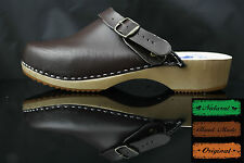 Taglia 10 UK / UE 44 men's Clogs in legno, svedese, in pelle marrone