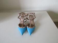 Valentino Garavani Rockstud Blue Leather Kitten Heel Pumps Shoes Size 36.5 Italy