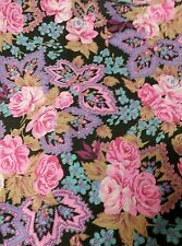 Quilt fabric -5+yards -floral pinks + purples -smoke free,pet free
