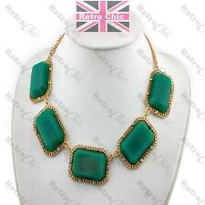 BIG EMERALD GREEN statement NECKLACE collar GOLD PLTD crystal VINTAGE STYLE GEM
