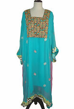 "5X 6X Chiffon Kaftan L 48"" Embroidered Caftan Tunic Dress EP150"