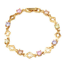 Little Girls Yellow Gold Plated Multicolor Cubic Zirconia Chain Link Bracelet
