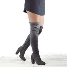 NEW WOMENS OVER THE KNEE HIGH BLOCK HEEL LADIES LONG CUT OUT THIGH HIGH BOOTS