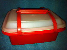 VINTAGE TUPPERWARE ORANGE PACK N CARRY LUNCH BOX FREEZE & SAVE # 1254 LID # 1259