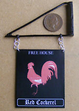 1:12 Scale The Red Cockerel Pub Sign & Bracket Doll House Miniature Accessory