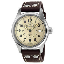 Hamilton Khaki Field Automatic Old Paper Dial Brown Leather Mens Watch H70595523