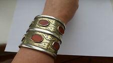 Antico di grandi dimensioni color argento oro CORNIOLA Turkmenistan TURCOMANNO TEKKE bracciale RARA