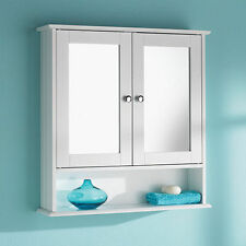 Double Door Mirror with Shelf White Wood Storage Bathroom Furniture Cabinet