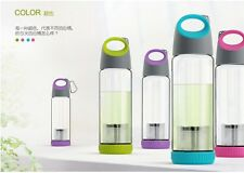 VIVO Outdoor Sporty Glass Bottle with Tea Strainer 400ml Apple Green/HotPink