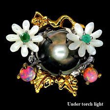 HANDMADE NATURAL FIRE OPAL,EMERALD,PEARL,MOP 2-TONE 925 SILVER FLOWER RING Sz 9