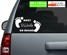 Personalised Name BABY ON BOARD Vinyl Car Sticker / Custom Fonts / Baby Feet /