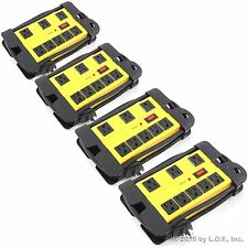 4 Pack 6 Ft 8 Outlet Surge Protector 1200 Joules Wall Power Strip Metal Yellow