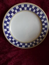 Platter 13 inch Made In Italy 10G Blue & White Checkered Trim Handpainted
