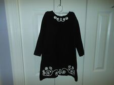 Hanna Andersson (EUC 110) Dress-Black Knit With White Decoration-Long Sleeve