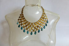 Vintage Egyptian Style Bib Necklace with Faience Scarab Beetle Fringe Cleopatra!