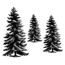 PINE TREE set of 3 UNMOUNTED rubber stamps, scenery, Christmas, winter #19